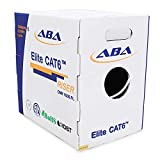 CAT6 Riser (CMR), Ethernet Cable 1000ft, No Spline, Unshielded Twisted Pair (UTP) 23AWG, Solid Pure Bare Copper, 550MHz, UL Certified, Easy to Pull (Reelex II) Box, Bulk Networking LAN Cable