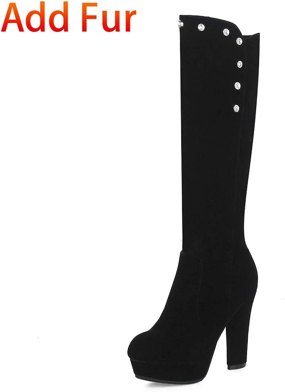 HOESCZS Large Größe 33-41 Hinzufügen Pelz Warme Winterstiefel Frau Schuhe Plattform Schwarz High Heels Heißer Kniehohe Stiefel,  | Erste in seiner Klasse