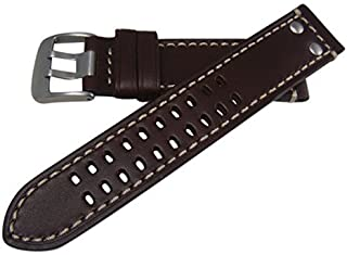 Hadley-Roma MS915 Brown Luminox Style Leather Replacement Watch Strap 22mm