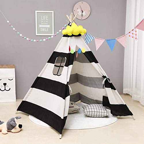 ZXGQF Play Tepee Tent, House Cotton Canvas Children's Tent Playhouse, Patchwork Teepee, for Girls/Boys Indoor and Outdoor (110cm,G)