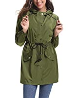 Abollria Womens Outdoor Waterproof Lightweight Windbreaker Raincoat Hooded Rain Jacket Army Green