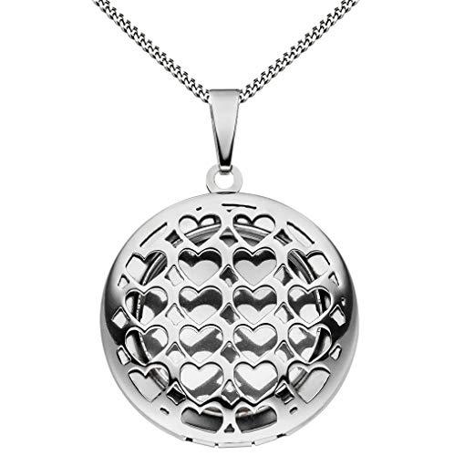 Medaillon rund Hochglanz aus Edelstahl für 1 Foto/Bild Amulett + Kette mit Schmuck-Etui von Haus der Herzen®