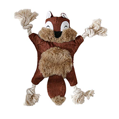 Quietschendes Hundespielzeug aus Plüsch, Kauspielzeug für Welpen, kleine, mittelgroße und große Hunde (Eichhörnchen)