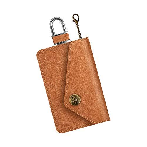 Faraday Bag Car Key Signal Blocker Pouch for Keyless Cars RFID Key Signal Blocking Pouch with Hook Securing Chain (Brown)