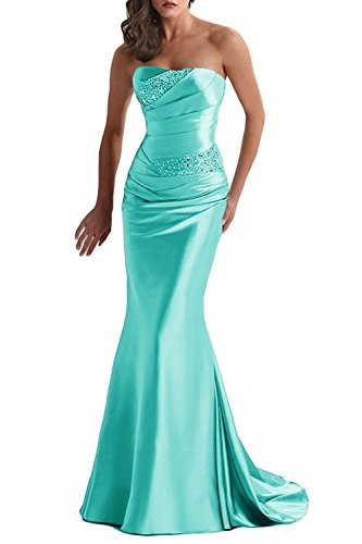 Future Girl Women's Elegant Satin Sweetheart Beaded Pleated Prom Dresses Evening Gowns Tiffany Blue,16