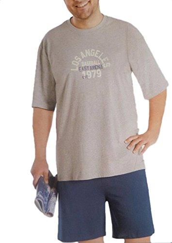 Herren Shorty Pyjama Kurzarm Schlafanzug unifarbiges Oberteil mit Motivdruck und unifarbiger Hose in Grösse 60, grau/blau