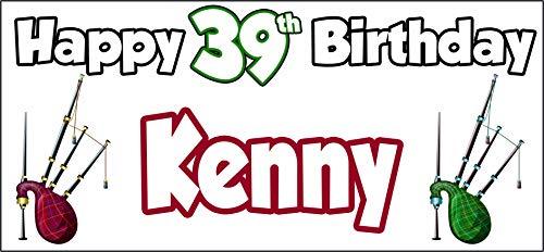 Cartel personalizable de 39 cumpleaños con diseño de gaitas escocesa de Escocia,...