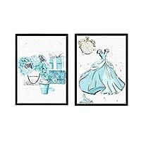 キャンバスポスターブルーフラワーバッグ北欧プリントプリンセスドレス壁画ファッション女の赤ちゃん保育園壁アートプリント画像サロン50x70cmフレームなし