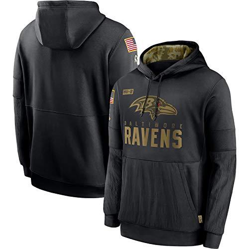 ERPA Rǎvens American Football Pullover Hoodie für Herren, 2020 Salute to Service Sideline Performance Pullover Hoodie, bequem und atmungsaktiv - Schwarz-XL