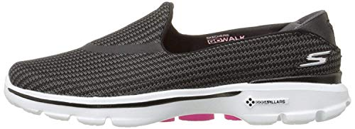Skechers Performance Women's Go Walk 3 Slip-On Walking Shoe, Black/White, 7.5 M US