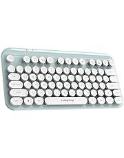 balikha Kablosuz Bluetooth Klavye, Sevimli Mini Kompakt Klavye, 75 Tuşlu, Yuvarlak ABS Retro Klavye, Mat Kontrol Paneli, PC Bilgisayar için Tasarım, L - Mavi