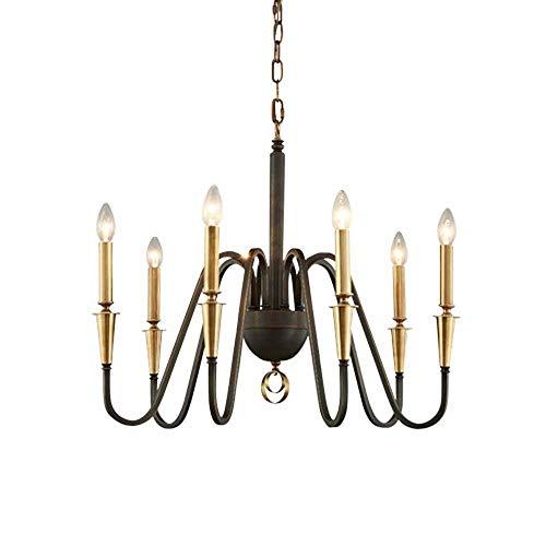 LG Snow Lámpara de araña de cobre neoclásico nórdico de cobre negro con vela para sala de estar, comedor, lámpara de cobre puro, 65 x 50 cm (6 bombillas espirales completas)