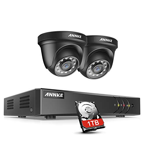ANNKE 5MP 4ch Kit di sorveglianza del sistema DVR H.265+ con HDD 1 TB e 2 telecamere di sicurezza a cupola nera,impermeabile IP66 e rilevamento del movimento