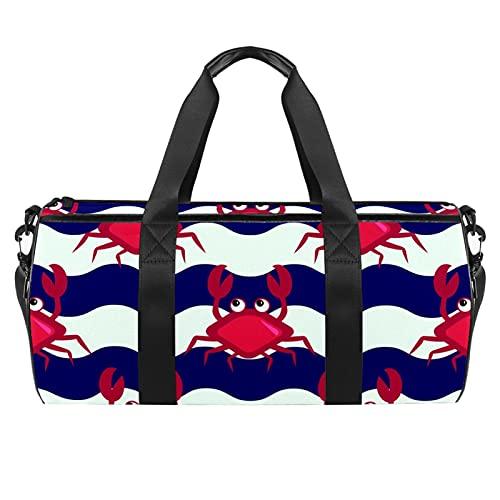 Crabs Crossing The River - Bolsa de deporte para gimnasio, bolsa de viaje cilíndrica con bolsillo mojado, ligera, bolsa de entrenamiento con correa para el hombro para hombres y mujeres