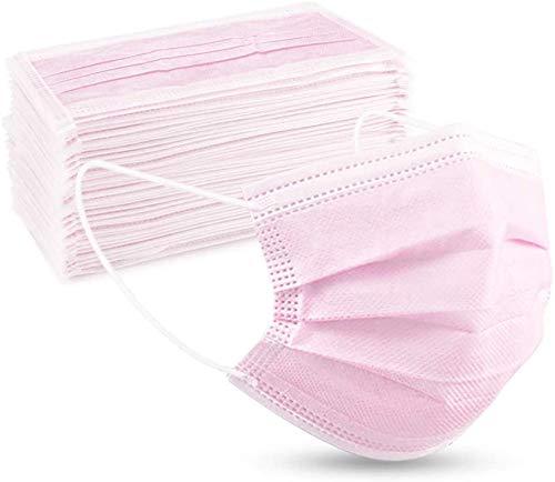 Einweg-Gesichtsmasken mit elastischer Ohrschlaufe, 3-lagige Ohrschlaufe, atmungsaktiv, Vlies-Mundbedeckung für Zuhause, Park, Büro, 50 Stück