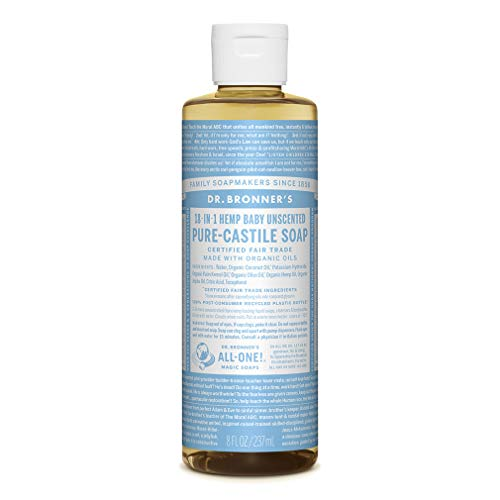 Dr. Bronners - Pure-Castile Liquid Soap (Baby Unscented, 32 Ounce) - Made with Organic Oils, 18-in-1 Uses: Face, Hair, Laundry, Dishes, For Sensitive Skin, Babies, No Added Fragrance, Vegan, Non-GMO