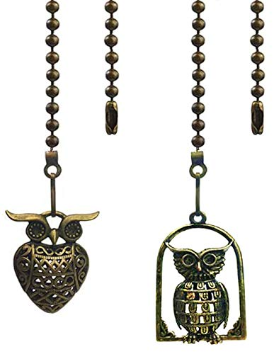 Hyamass 2pcs Vintage Different Owl Hollow Out Charm Pendant Ceiling Fan Danglers Fan Pulls Chain Extender with Ball Chain Connector