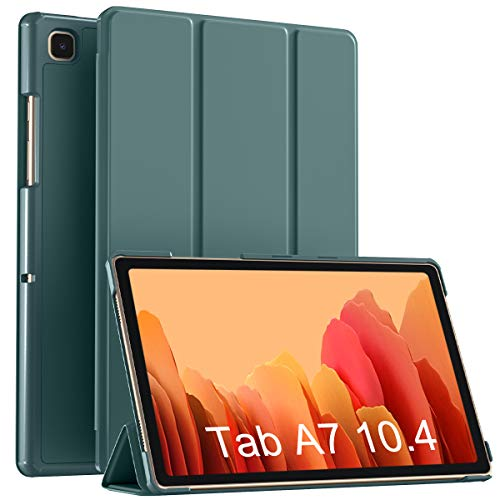 Vobafe Hülle Kompatibel mit Samsung Galaxy Tab A7 10.4 Zoll 2020 (SM-T500/T505/T507), Ultra Schlank PU Leder Hülle mit Ständer PC Rückseite Abdeckung Schutzhülle, Auto Schlaf/Wach, Kiefern Grün