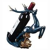 YHWD Estante Decorativo para Vino, Estante Creativo para Botellas de Escultura de Ciervo, exquisitos Muebles para el hogar de Resina, Adecuado para Regalos de cumpleaños de Vacaciones,Azul