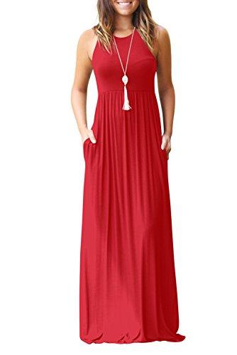 Bequemer Laden Damen Sommerkleid Ärmelloses Maxikleid Spaghetti Strap Lang Kleider mit Taschen Partykleid Cocktailkleid Strandkleid,Z-Rot,L