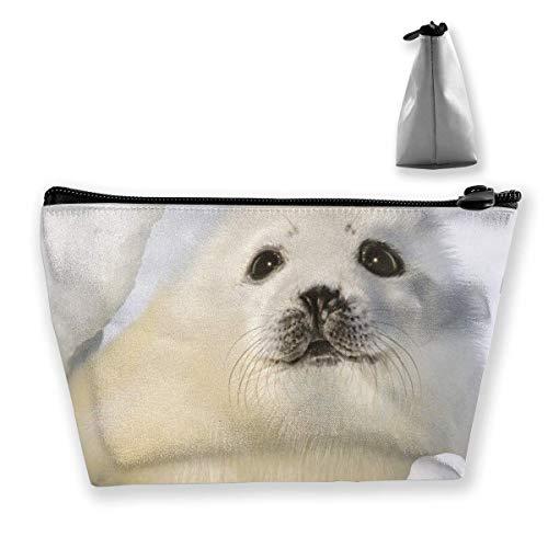 White Cute Sea Lion Grand sac de maquillage en forme de trapèze Sac de voyage Sac de lavage Cosmétique Trousse à crayons Fermeture éclair étanche