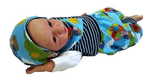 Atelier MiaMia - Mitwachs Strampler einzeln oder als Set Baby Kind von 50, 56, 62, 68, 74, 80, Designer Strampler Limitiert !! Sendung mit der Maus, blau (68 als Set)