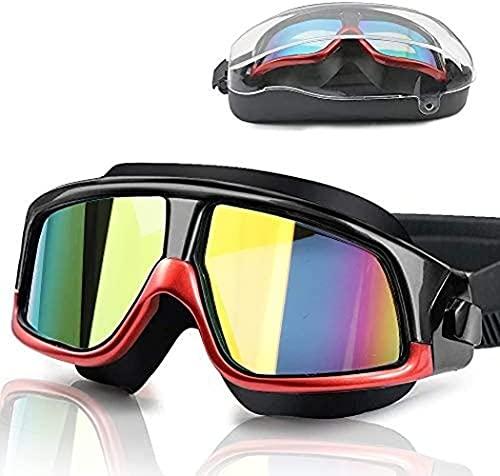 Gafas de natación para adultos, antivaho, antifugas, con revestimiento de espejo, grandes gafas de natación, sin fugas, con funda de almacenamiento, gafas de natación para