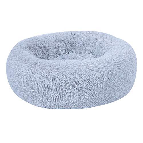 BK Pet Beruhigungsbett Shag Donut Kuscheldecke Plüsch Katzen Hund Schlafmatte Winter Komfortbett, grau, 50x50x20cm