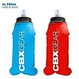 CBX Sports Borraccia 2X 500ml Blu & Rosso Bottiglia Soft Flask per Running, Maratona, Escursionismo...