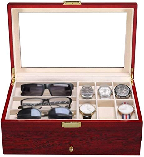 YAYY Holzuhrbox Holzuhren Vitrine Schmuck Aufbewahrungsorganisator mit abnehmbaren weichen Kissen für Männer Damen Sammelboxen(Upgrade)