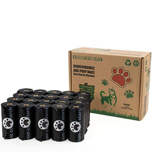 Dumi Pets Sacs à déjections canines biodégradables extra épais et résistants, 20 rouleaux pour 300 sacs respectueux de l'environnement pour chien (Noir)