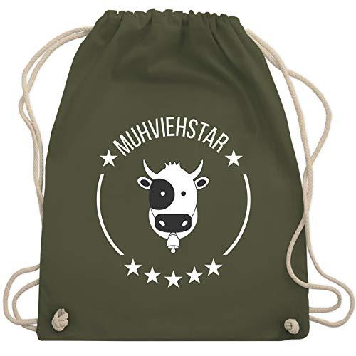 Shirtracer Landwirt - Muhviehstar - Unisize - Olivgrün - turnbeutel schwarz - WM110 - Turnbeutel und Stoffbeutel aus Baumwolle