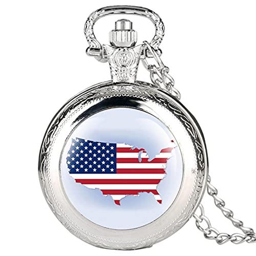 JTWMY Mapa de Estados Unidos Patrón Retro Reloj de Bolsillo Collar Colgante Reloj Reloj Steampunk Regalos de Recuerdo-Plata