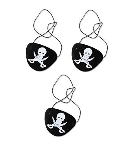Sonnenscheinschuhe® Dreierpack: 3 x Augenklappe Pirat Totenkopf Kostüm Zubehör Karneval Kindergeburtstag Fastnacht
