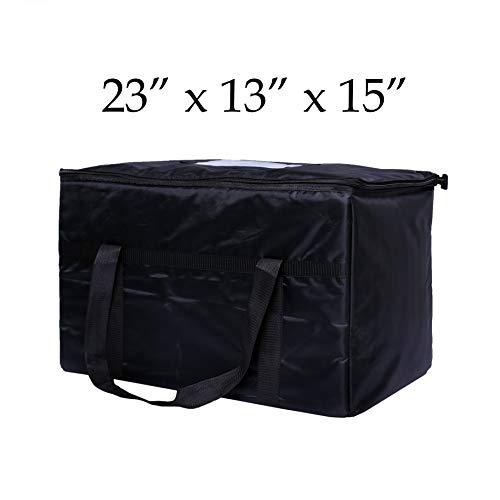 Resturant linen Insulated Nylon Food Delivery Bag , 23in x 13in x 15in, Black