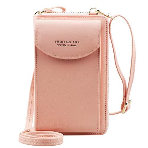 Jangostor kleine Crossbody Tasche Handy - Tasche Brieftasche mit Credit Card Slots für Frauen (Light pink)