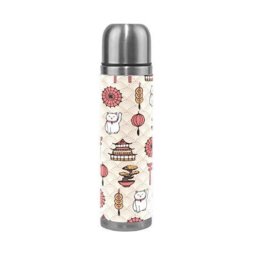 Thermos ThermoCafé Botella térmica aislada, Patrón de gato de la suerte japonés,Frasco de Vacío de Acero Inoxidable 500 ml