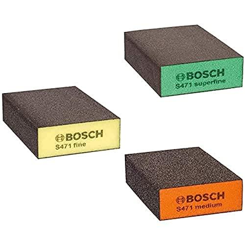 Bosch Professional S471 Medium Esponja abrasiva para Superficies y Bordes, Gris/Naranja, Medio + Esponja Abrasiva Fino, Amarillo, Marron, 68 x 97 x 27 mm + Esponja de Lijado súperfina