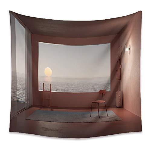 KHKJ Ocean Window Series Tapiz de Pared Personalidad Patrón de Dibujos Animados Tapiz de Tela de Pared Arte Hippie Decoración para el hogar Estera de Yoga Alfombra A2 200x180cm