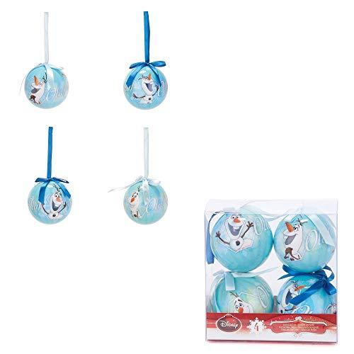 Les Colis Noirs LCN - Set de 4 Boules de Noël Disney Olaf 7cm Bleu - Boule Noel Décoration Sapin Enfant - 164