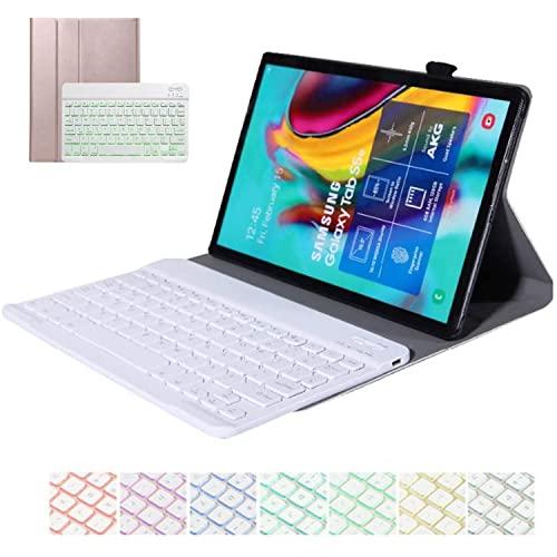 LGQ Custodia per Tastiera Retroilluminata Samsung Galaxy Tab S6 Lite 10.4' 2020 SM-P610/P615 Stand Ultrasottile in PU, Custodia per Tastiera Retroilluminata Wireless,Supporto per Penna S,Rose Gold