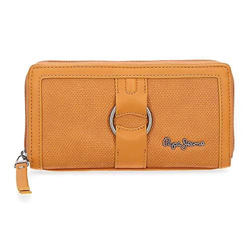 Pepe Jeans Daphne Brieftasche Gelb 18x10x2 cms Synthetisches Leder