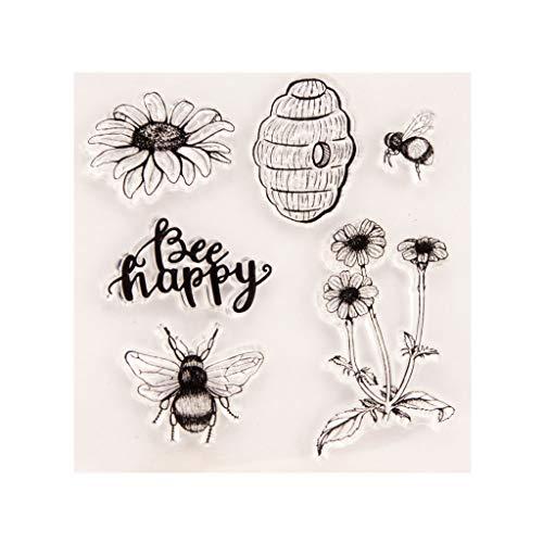 ECMQS Fröhliche Biene Blume DIY Transparente Briefmarke, Silikon Stempel Set, Clear Stamps, Schneiden Schablonen, Bastelei Scrapbooking-Werkzeug