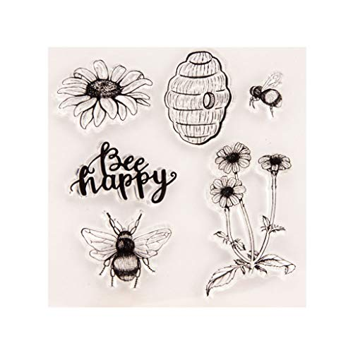 Qingchin Happy Bee Flower Silicone Clear Seal Stamp DIY Scrapbooking Embossing Photo Album Decorative Paper Card Craft Art Handmade Gift
