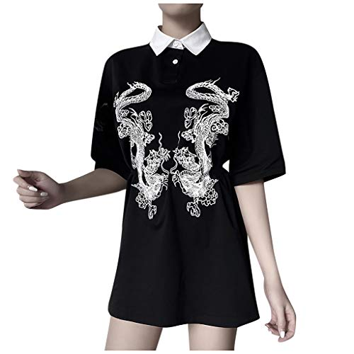 T-Shirt Bluse Frauen Sommer Tops Chinese Dragon Gothic Kurzarm Loose Long (M,1Schwarz)