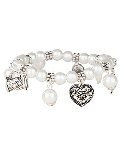 SIX Perlenarmband mit weißen Perlen und silbernen Anhängern, Accessoire zu Dirndl oder Bluse, Oktoberfest, Verkleidung, Karneval, Fasching (731-448)
