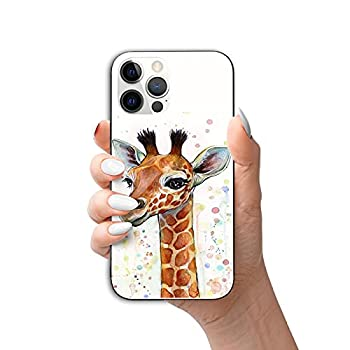 Giraffe iPhone 12 PRO MAX 6.7 INCH 2020  5G  Case Cute Young Giraffe Drawings Luxury Square Soft TPU and Hard PC Back Stylish Retro Cover -8ft Drop Tested-for Girls Womens