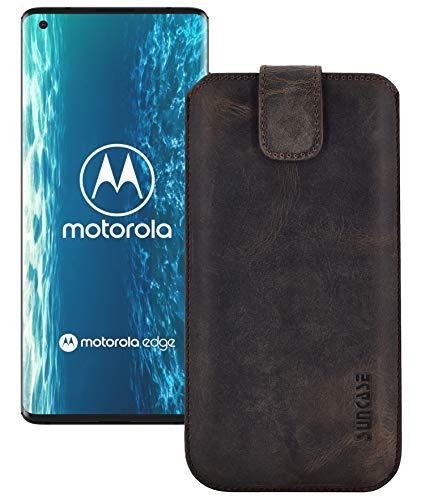Suncase ECHT Leder Tasche kompatibel mit Motorola Edge Plus Hülle *Slim-Edition* Schutzhülle (mit Rückzugsfunktion & Magnetverschluss) in antik braun