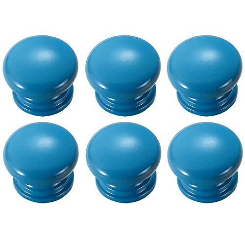 FBSHOP(TM) 6 Stück Blau Runde Pilzform Holz Kabinett Knöpfe Schublade Knöpfe, Möbelknöpfe Schrankgriffe Schublade Kommode Griffe für Schrank, Büro Schublade, Türknöpfe, Möbelknopf