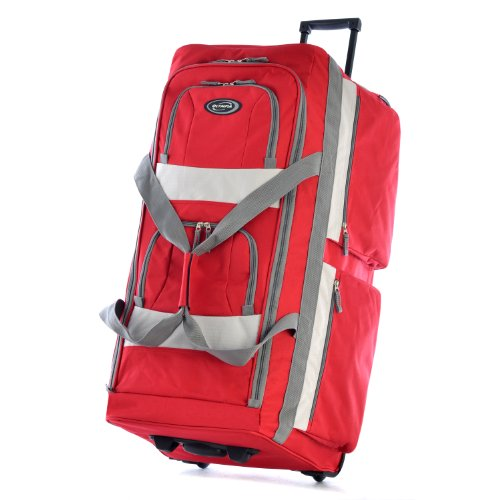 Olympia 8 Pocket Rolling Duffel Bag, Red, 33 inch